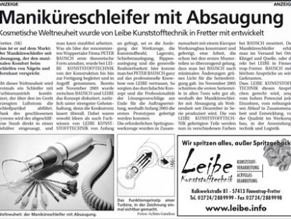 Maniküreschleifer mit Absaugung - März 2006